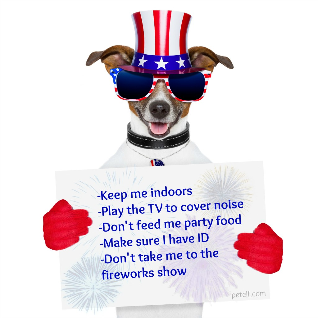 american dog with red gloves behind banner