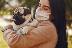 Girl with long dark hair is wearing a pink medical mask. She is holding a pug who is sticking his tongue out.
